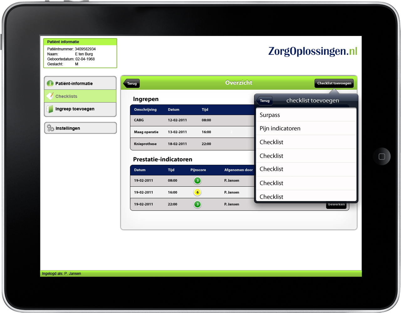 ZorgOplossingen | ZO| checklist SURPASS - mobiel